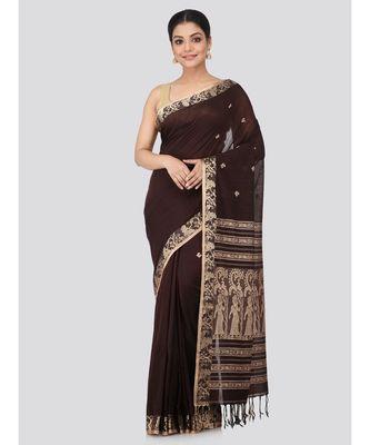 Brown cotton hand woven   saree