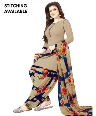 Beige Floral Printed Unstitched Salwar Kameez With Dupatta
