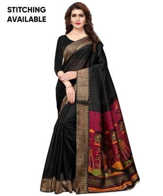 Black Printed Art Silk Saree With Blouse