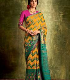 Women's Mustard and Maroon Color Printed Chanderi Silk Saree with Bangalory Silk Unstitch Blouse Piece