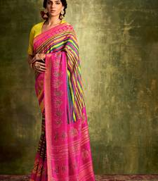Women's Multi and Maroon Color Printed Chanderi Silk Saree with Bangalory Silk Unstitch Blouse Piece