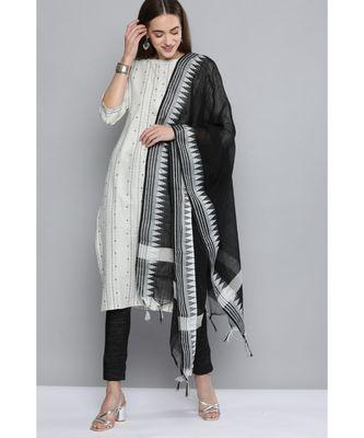Kvsfab White & Black Pure Handloom Cotton Unstitched Sustainable Dress Material