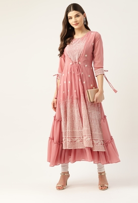 Peach embroidered georgette embroidered-kurtis