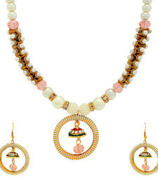 Buy The Luxor Designer Pink Coloured Pearl Studed Necklace party-jewellery online