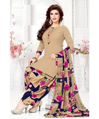 Beige Floral Printed readymade Salwar Kameez With Dupatta