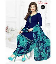 Navy Blue Crepe Printed stitched Salwar With Dupatta