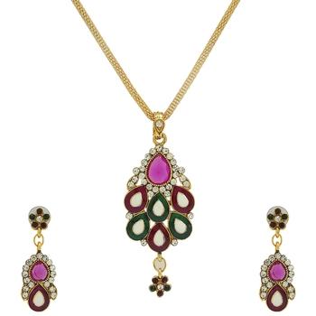 Green and Purple Designer Navratri Sepcial Pendant Set