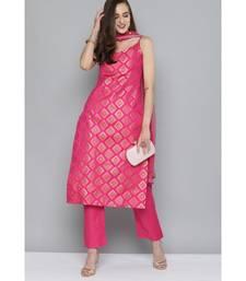 Kvsfab Women Pink & Gold-Toned Ethnic Motifs Kurta with Trousers & Dupatta