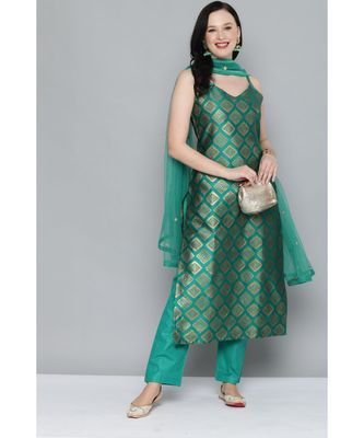 Kvsfab Women Green & Gold-Toned Ethnic Motifs Kurta with Trousers & Dupatta
