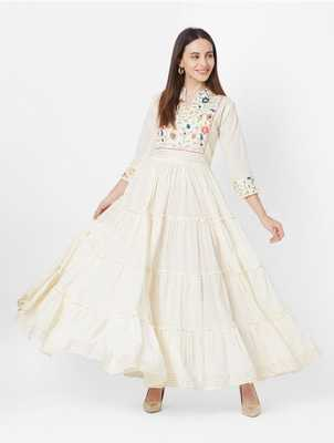 White Colored Embroidery Worked Soft Cotton Kurti