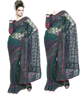 Designer Net Saree with Embroidery work - Party wear - Wedding - Riyaa 902606