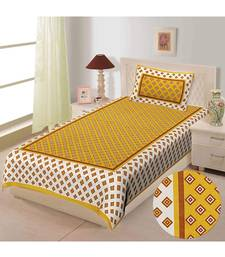 Mustard pure cotton  bed sheet & pillow cover