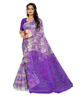 Purple Super Net Printed Casual Saree