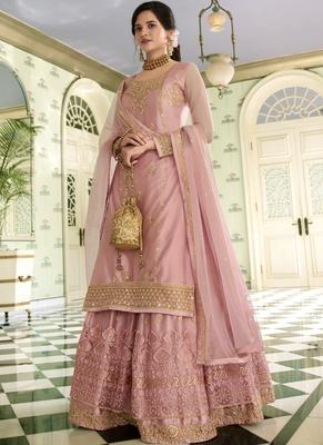 Baby-pink embroidered net salwar