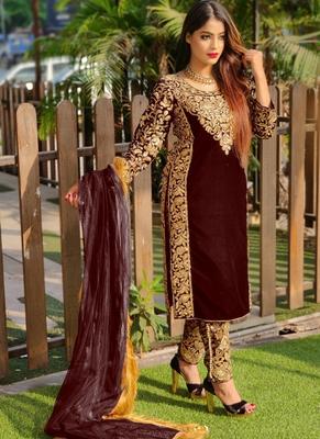 Coffee embroidered velvet salwar