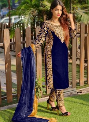 Royal-blue embroidered velvet salwar