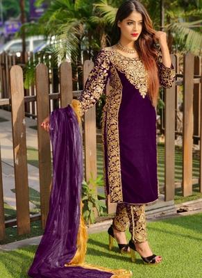 Purple embroidered velvet salwar