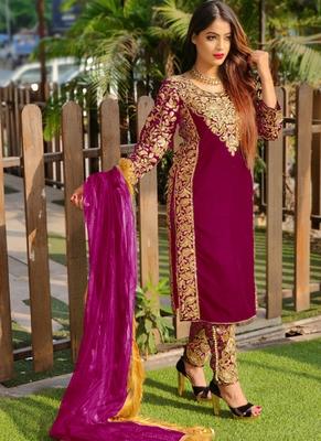 Rani-pink embroidered velvet salwar