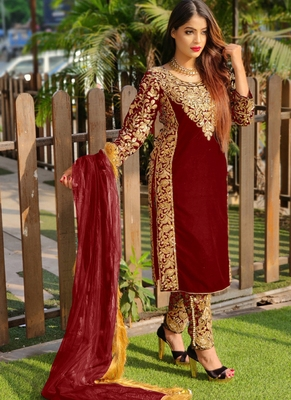 Maroon embroidered velvet salwar