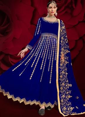 Royal-blue embroidered georgette salwar