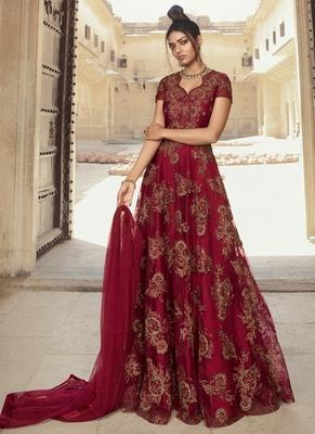 Blood-red embroidered net salwar