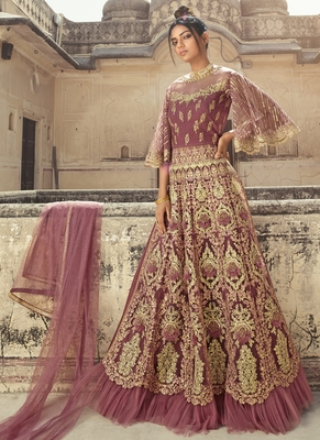Light-wine embroidered net salwar
