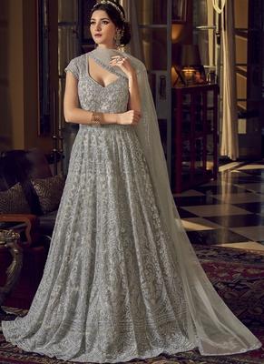 Silver embroidered net salwar