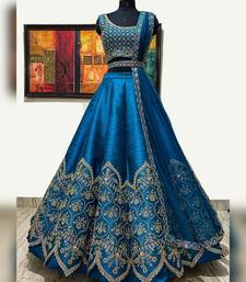 royal-blue silk sequins work semi stitched half sleeve choli choli & lehenga with dupatta