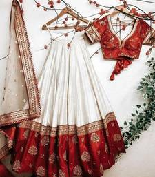 off-white silk thread embroidery semi stitched half sleeve choli choli & lehenga with dupatta