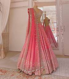 baby-pink satin sequins work semi stitched half sleeve choli choli & lehenga with dupatta