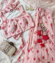 baby-pink georgette plain semi stitched half sleeve choli choli & lehenga with dupatta