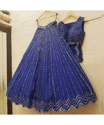 royal-blue art silk sequins work semi stitched half sleeve choli choli & lehenga with dupatta