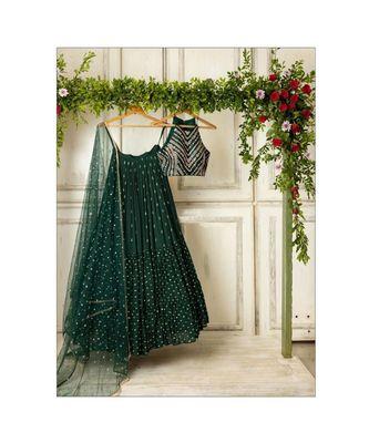 green georgette sequins work semi stitched half sleeve choli choli & lehenga with dupatta