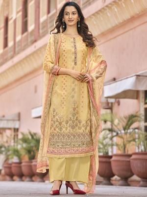 Yellow digital print art silk salwar