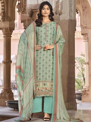 Teal digital print art silk salwar