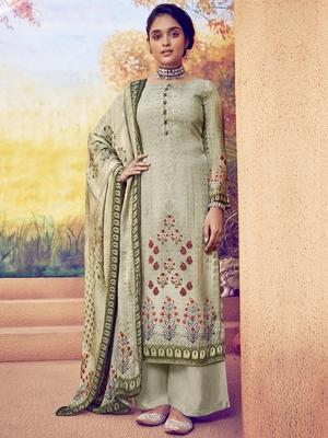 Olive embroidered art silk salwar
