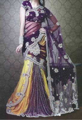 Bridal lehenga saree - wedding - party wear - heavy embroidery - riyaa 902511