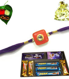 Buy Buy designer and superior quality jewel rakhi with chocolate now. jeweled-rakhi online