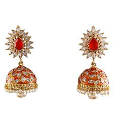 Orange gold plated antique gold Copper   Pair of Earrings