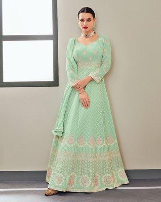 Light-sea-green embroidered georgette salwar