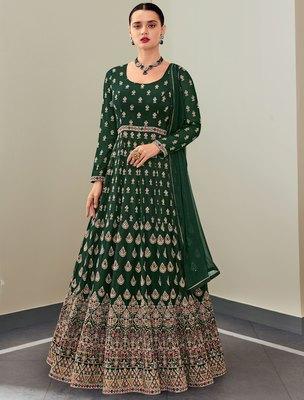 Dark-green embroidered georgette salwar
