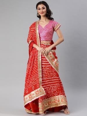 Red Hand Crafted Bandhani Lehenga Set