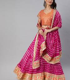 Pink Hand Crafted Bandhani Lehenga Set