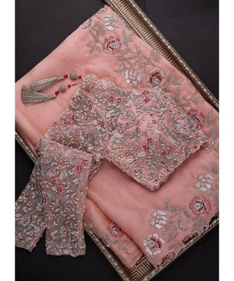 peach organza embroidered  saree with blouse