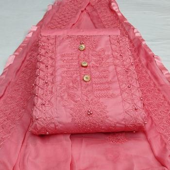 Light-pink chikankari cotton salwar