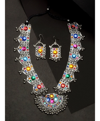 Multicolor silver plated Alloy Necklace