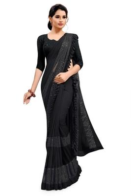 Black plain lycra saree with blouse