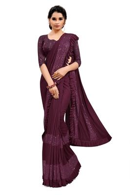 Purple plain lycra saree with blouse