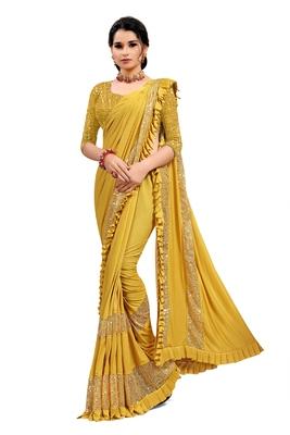 Mustard plain lycra saree with blouse