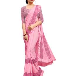 Pink plain lycra saree with blouse